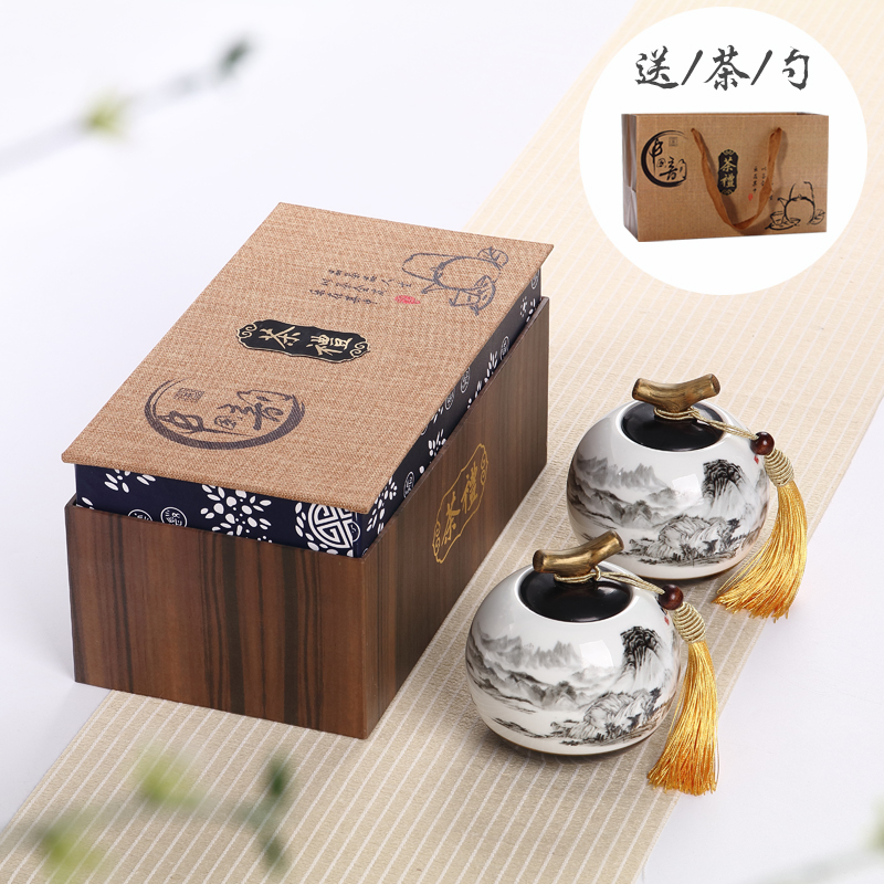 Zhen yi ceramic tea caddy gift box sealed cans large storage tank pu'er tea wake chaguan shipping
