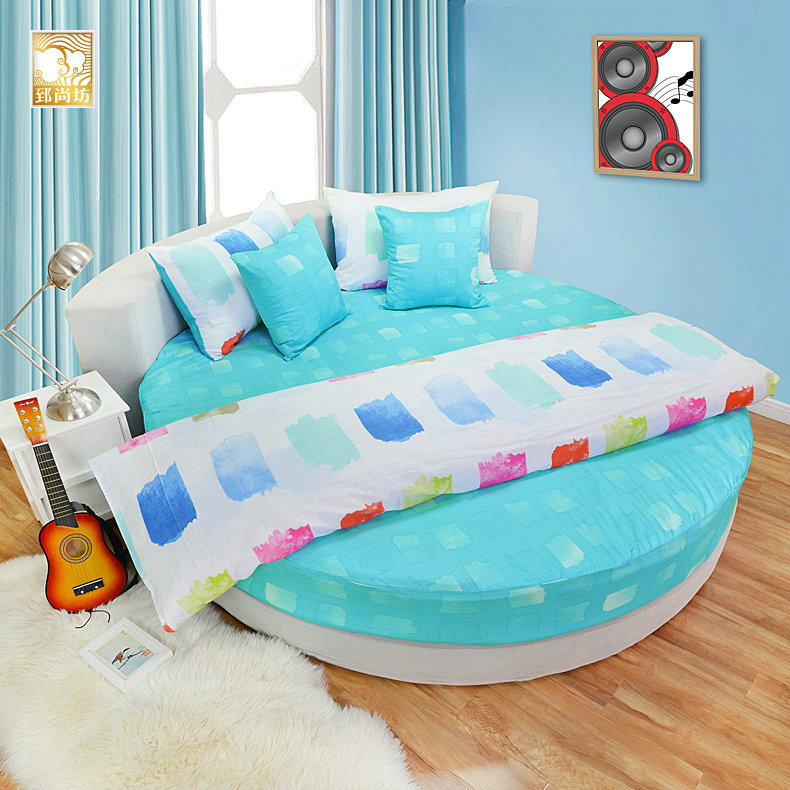 Zhi shang fang round bed bed li family of four spring and summer korean cotton round bed linen pieces of sets of bedding custom fantasy blue
