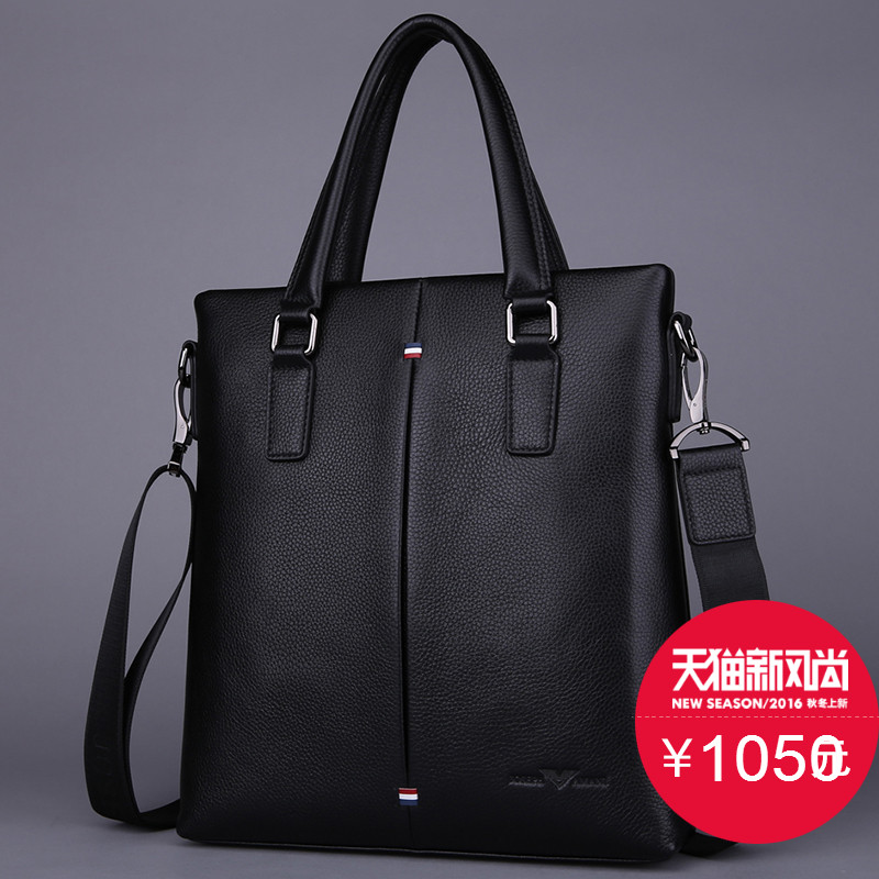 Zhuo vatican genuine armani man bag leather briefcase business bag soft leather handbag first layer of leather shoulder diagonal cross bag