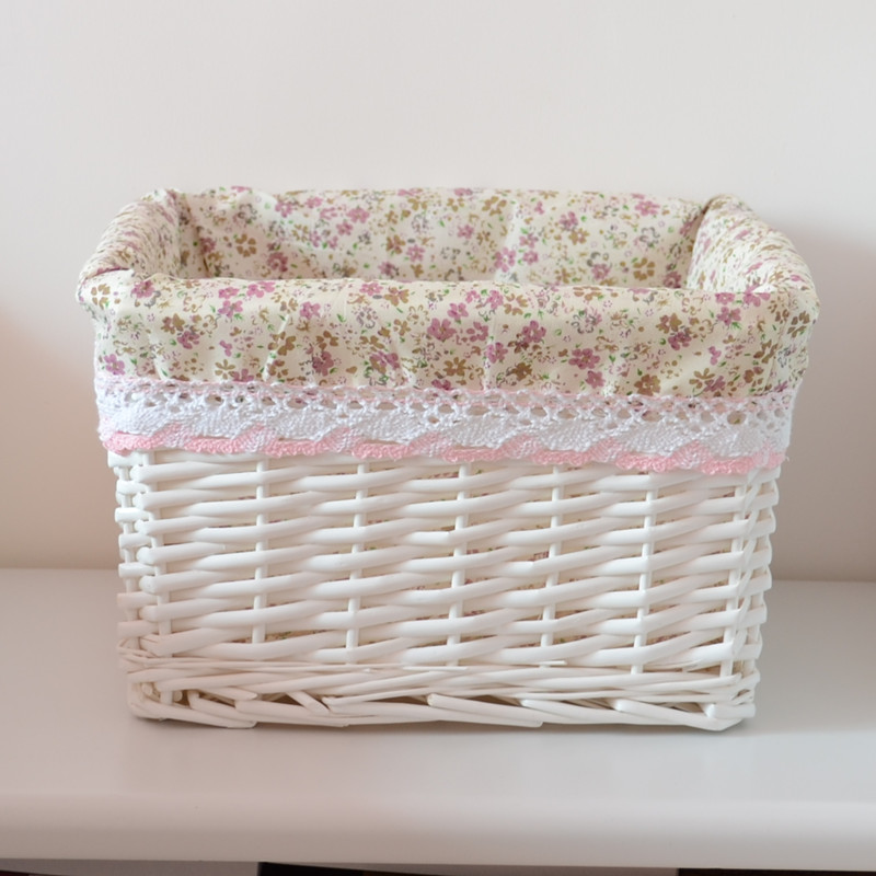 Zi xiu home rattan wicker storage baskets non bamboo storage basket without cover small square storage basket pastoral lace