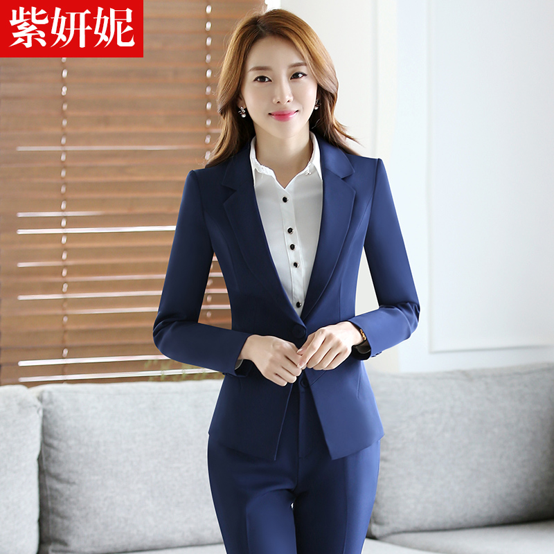 Zi yan ni new autumn and winter women wear navy blue suit suit chaps female business manager overalls