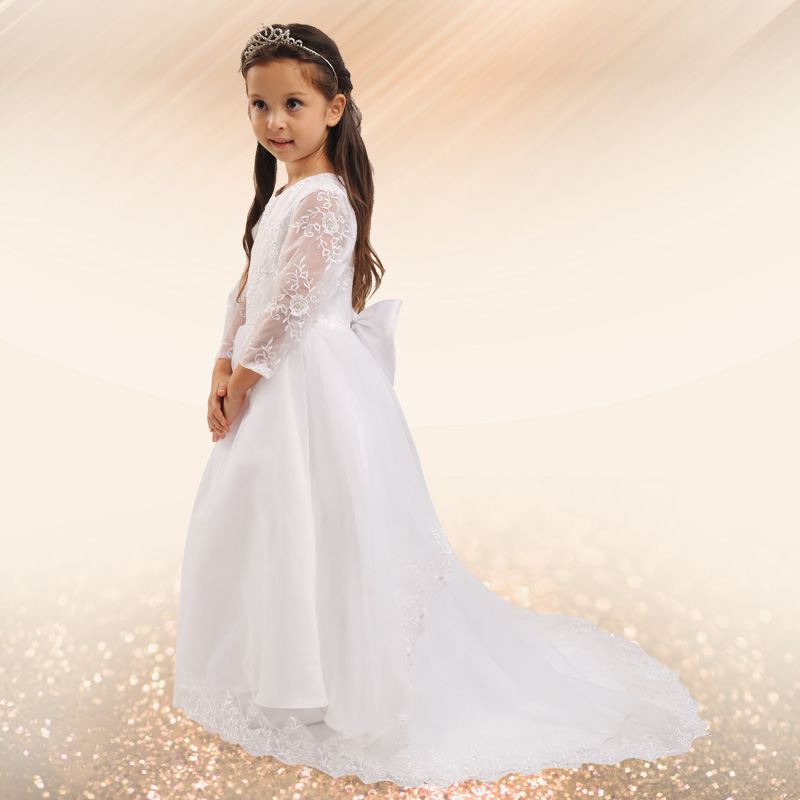 Zi yi wedding dress flower girl long trailing wedding dress girls autumn and winter children's princess dress costumes tutu dress mopping the floor