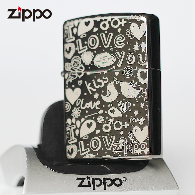 Zippo flagship store genuine zippo lighters black ice eternal love sweet words of love genuine person