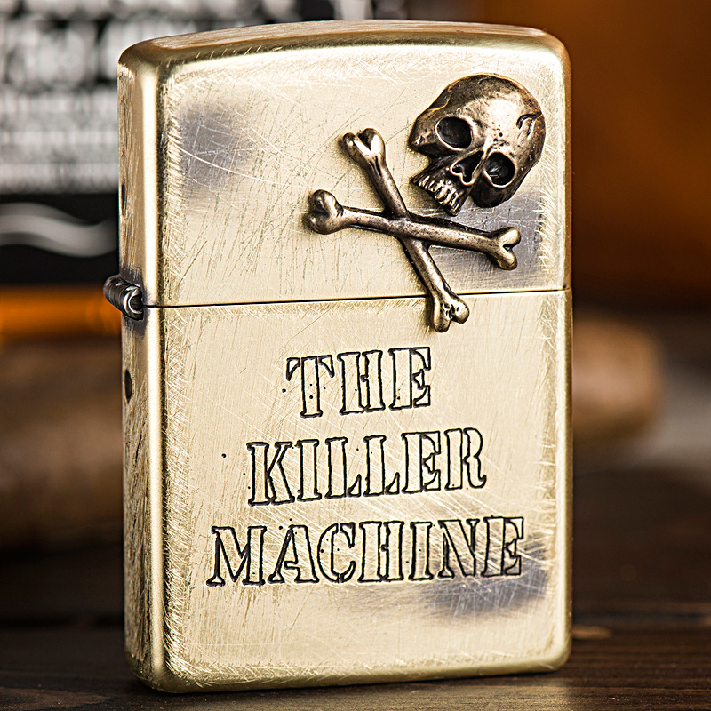 Zippo lighters genuine original japanese version of the killing machine brass to do the old skull men's genuine zippo
