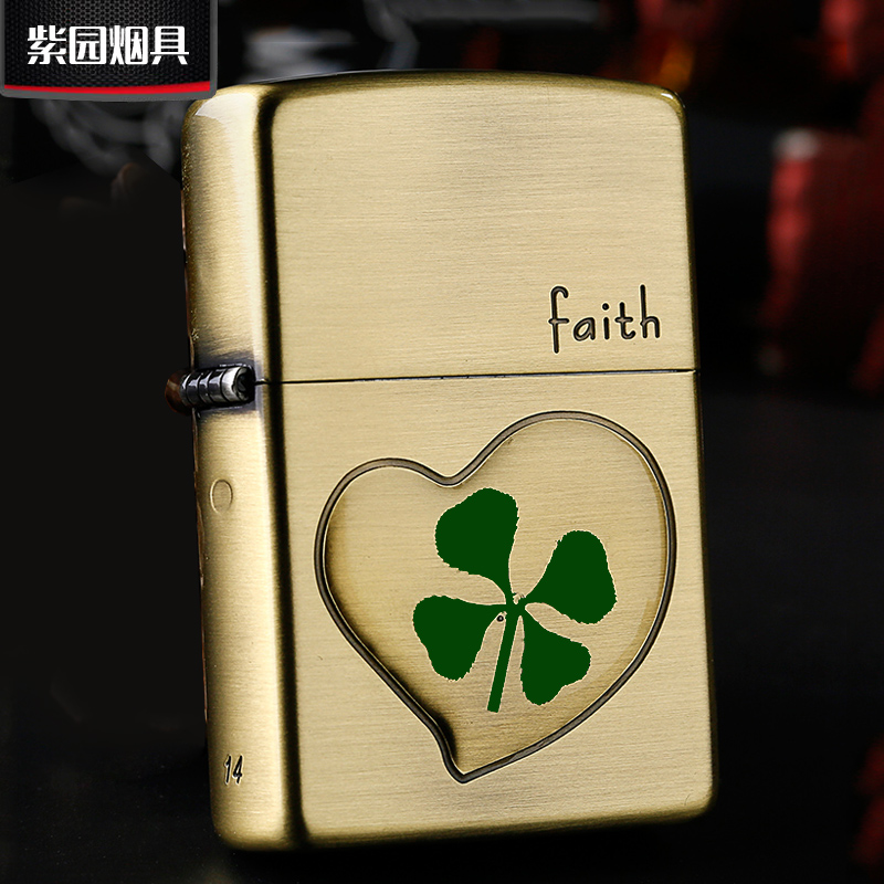 Zippo lighters zippo genuine flagship men's classic japanese and korean version of clover luck JZ37870