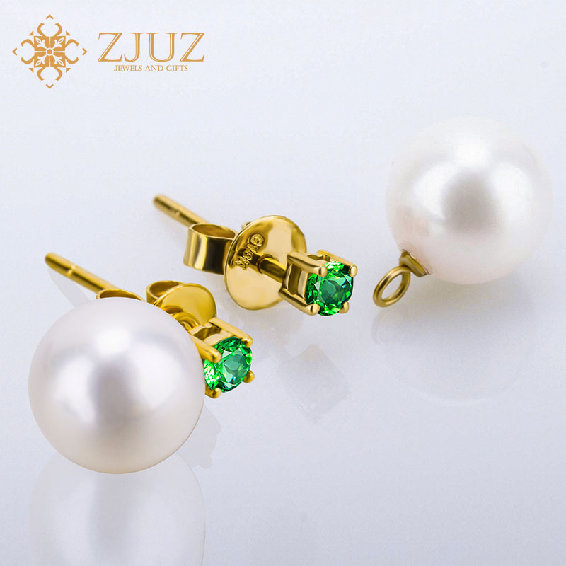 ZJUZ18K gold pearl earrings female wearing a multi natural freshwater pearl inlaid gemstone earrings temperament korea