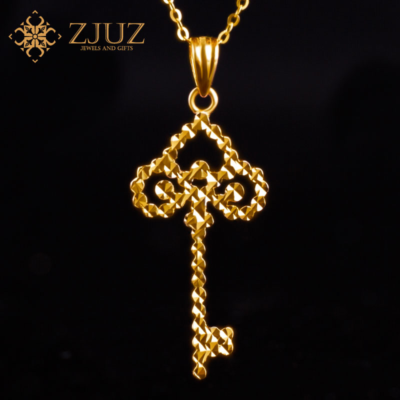 ZJUZ18K platinum gold color gold pendant gold pendant gold pendant rose gold necklace women clavicle chain korea to send his girlfriend