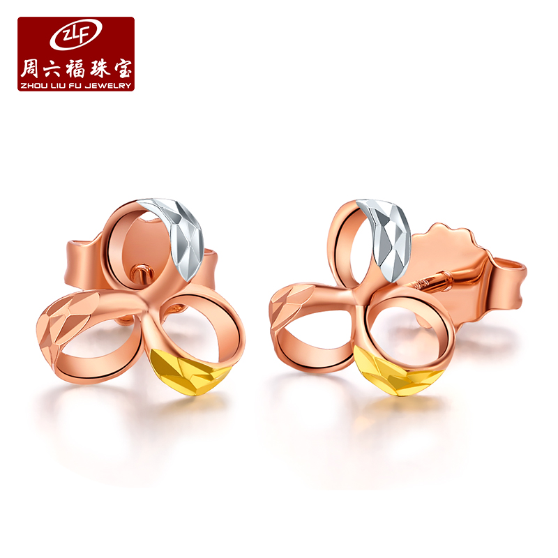 Zlf/saturday fook k k k white yellow rose gold color gold earrings gold earrings earrings small fresh three leaf grass Female models