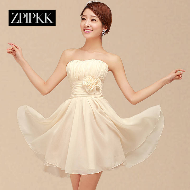 Zplpkk custom 2016 spring and autumn korean mission bridesmaid dress bridesmaid dress short paragraph toast clothing sisters skirt package hip dress