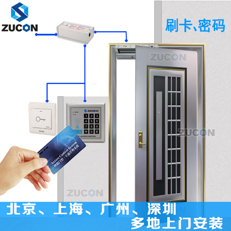 Zucon ancestral process X1D electronic card access control system suits password system magnetic lock glass door package