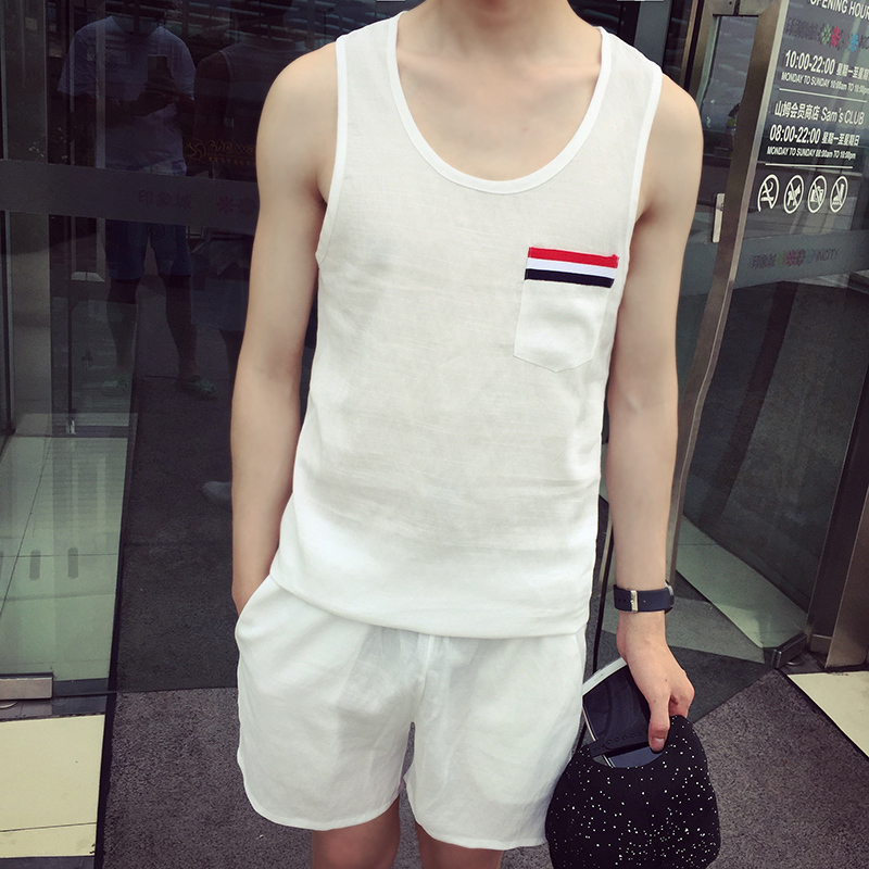 Zuo face summer trend of korean youth leisure wild casual pants men loose vest piece suit sports equipment thin
