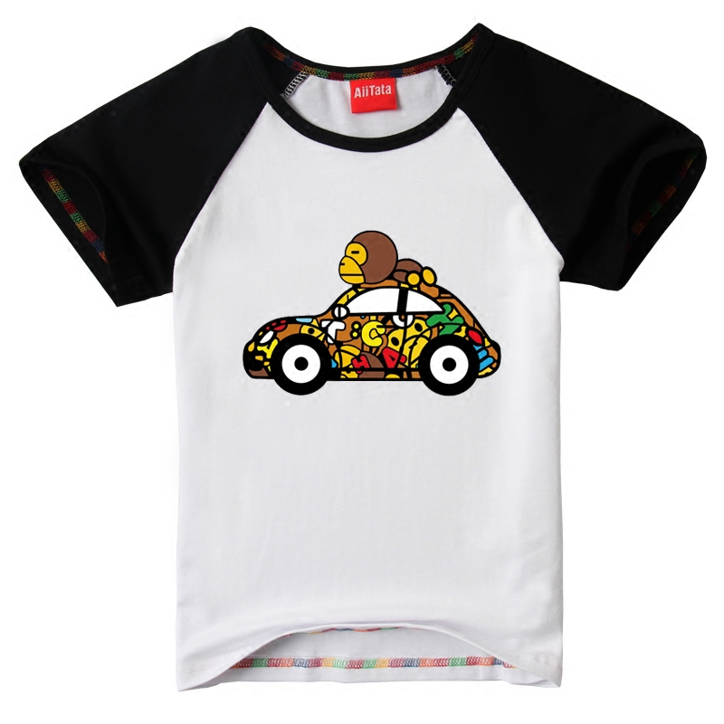 2016 summer new children's clothing boys short sleeve t-shirt cotton t-shirt children's summer baby short white t car monkey