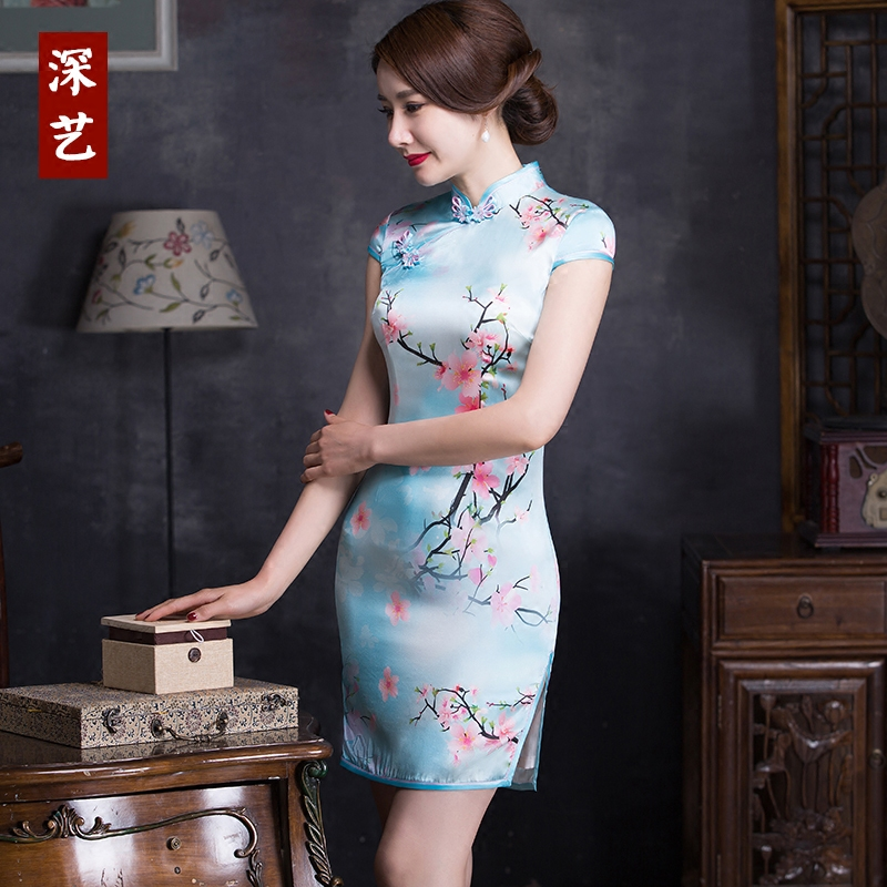 Arts deep mulberry silk cheongsam dress short paragraph 2016 new summer fashion slim improved cheongsam dress elegant