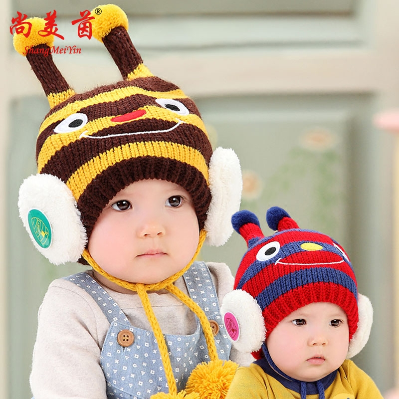 Baby hat baby hat wool hat children hat winter plus velvet thick warm knit hat ear cap child hat