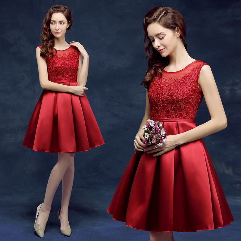 Bridesmaid dress short evening dress banquet evening dress 2016 new autumn sister group to repair the body was thin dress female moderator