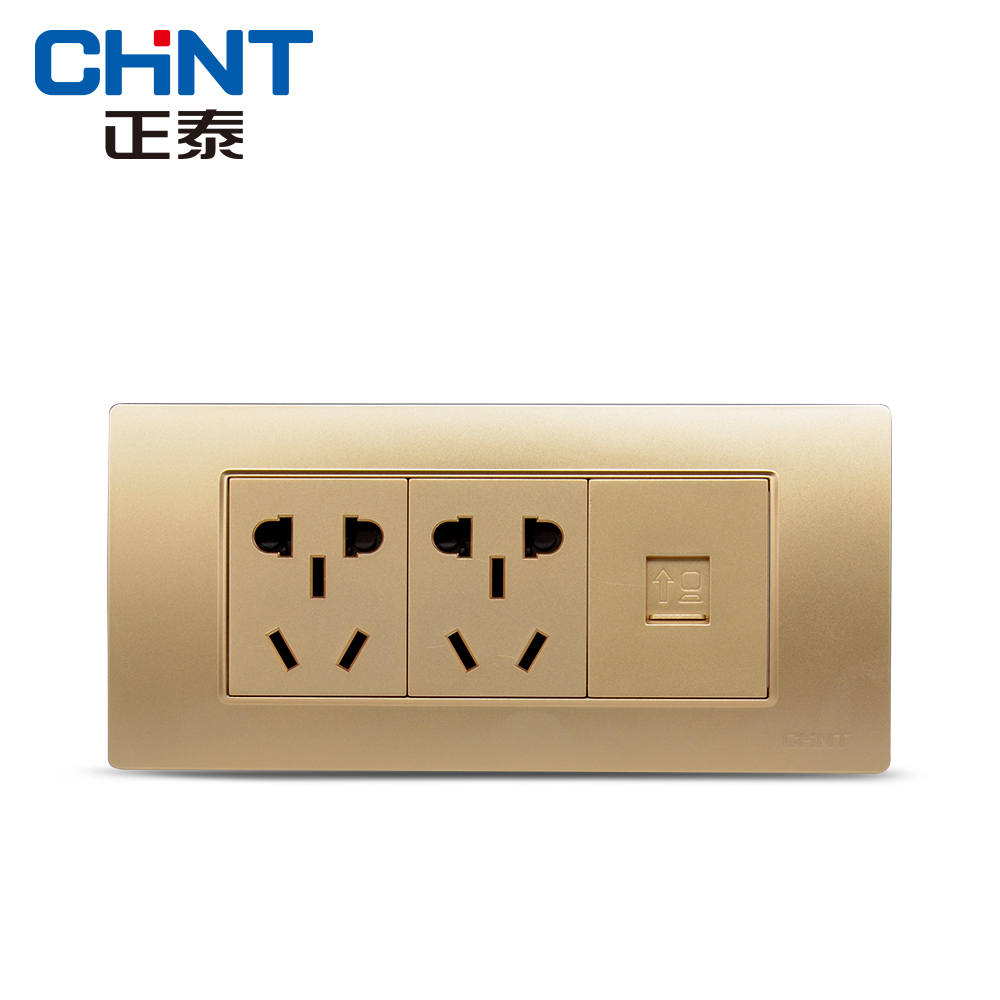 Chint socket 118 type combination 5d series dazzle champagne gold three two five socket + computer socket panel