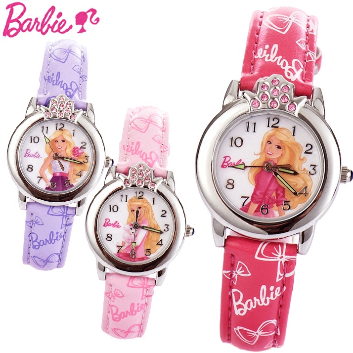Crown princess children's watches are brand fashion cartoon little girls barbie girl students quartz watch