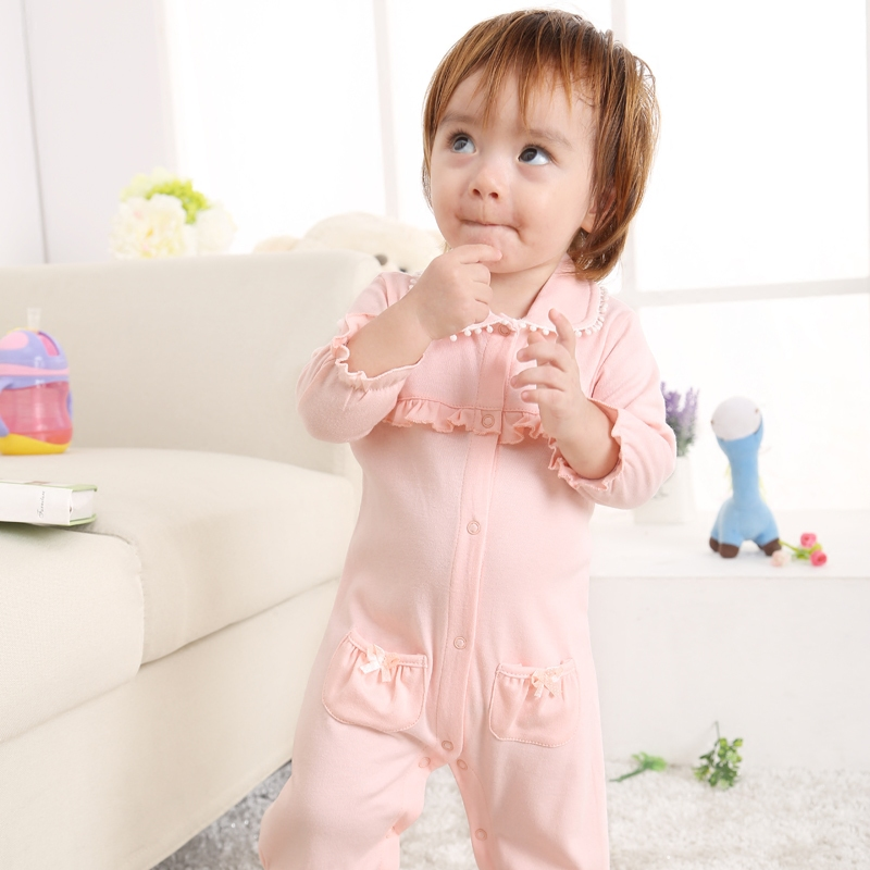 Female baby cotton long sleeve leotard baby romper climbing clothes in summer and autumn fashion princess korean version of infants and young children romper