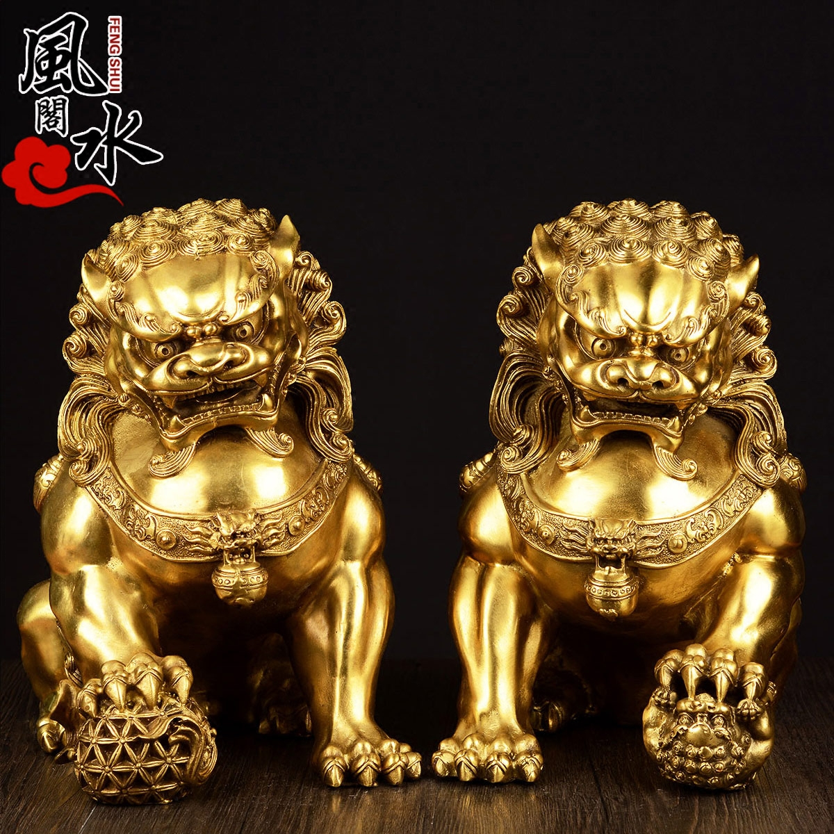 Feng shui house opening of pure copper ornaments one pair of copper beijing lion lion lion lion ornaments home feng shui ornaments to help transport