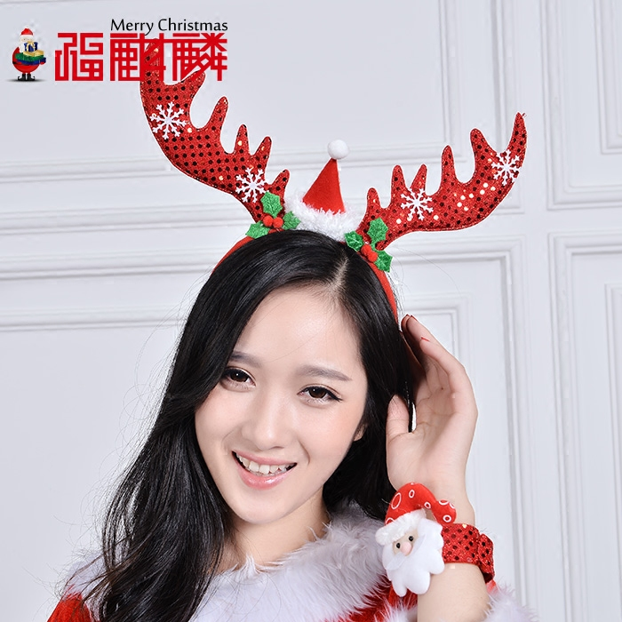 Fu unicorn long christmas antlers headband hair bands hairpin hairpin headdress head buckle christmas christmas party decorations