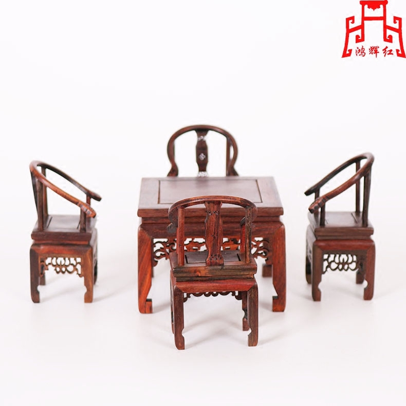 Honghui red mini miniature furniture rosewood small square table round wood carving crafts mahogany wood ornaments