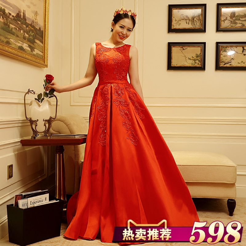 Jigme married art wedding dress was thin bride toast red dress 7802 new lace shoulder dress