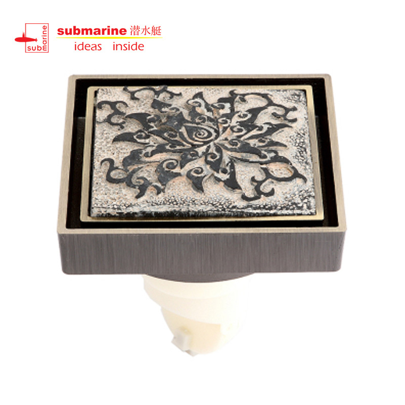 [Lynx genuine] security QLTD50-10-L grand-end of the blue lotus relief art floor drain odor