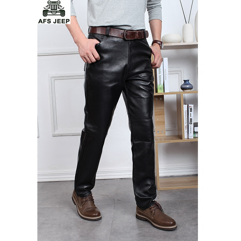 362052cc3b8af Get Quotations · Men s leather slim leather motorcycle leather pants  leather pants straight loose windproof waterproof waist sheep cattle