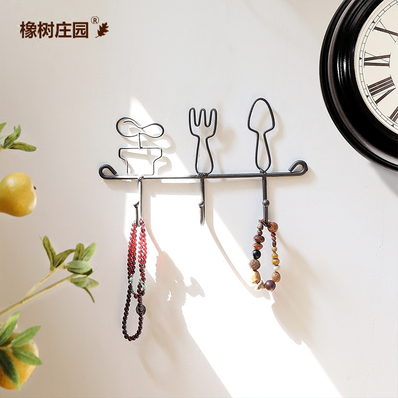 Oak manor american emily creative cutlery knife and fork spoon three hooks wrought iron home fashion decorative wall hooks