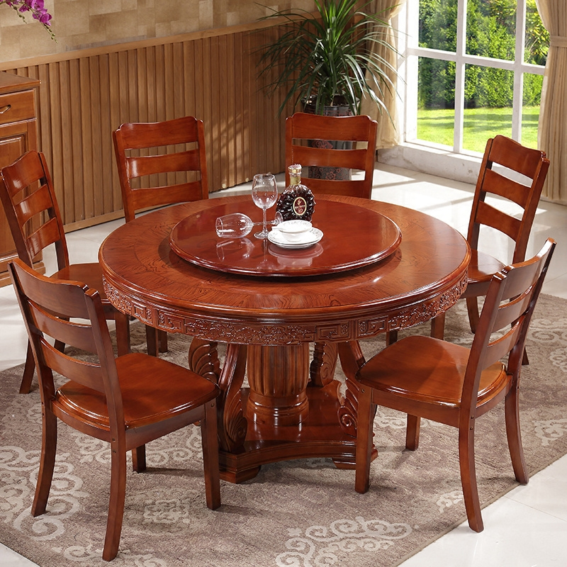 Solid wood dining table dining table round table 6 person 8 person hotel large round table with a turntable 1.3 1.5 m dinette combination of carved