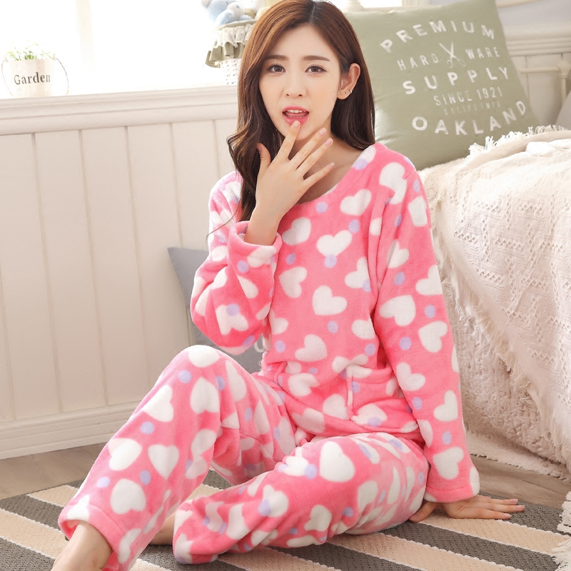Spring and autumn cute female winter coral velvet tracksuit flannel pajamas suits autumn long sleeve round neck sweet pyjamas
