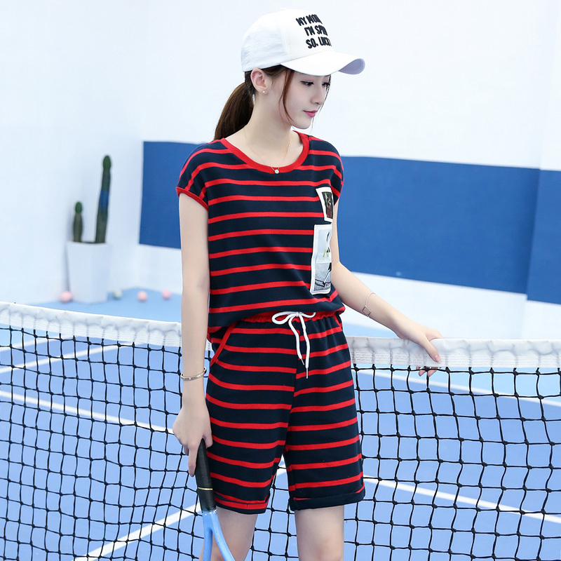 Summer leisure sports suit short paragraph women slim sports suit summer paragraph korean version of the popular small stature