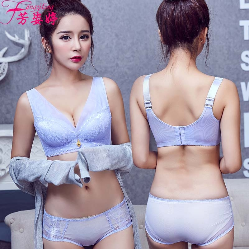 077b4f951 Get Quotations · Sweet bra no rims gather adjustable deep v sexy small  chest thick underwear bra set us