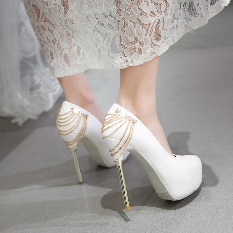 Get Quotations White Wedding Shoes Red High Heels Bridal Diamond Waterproof With