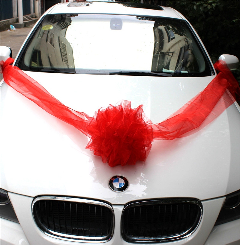 Xin hang wedding car wedding flower head flower wedding wedding wedding car decoration shaman took the ball of yarn ball of yarn red powder