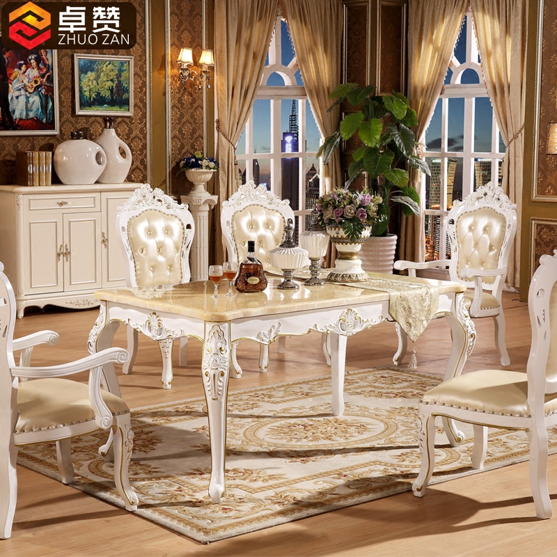 Zhuo like european natural marble dining table solid wood dining table oak square table rectangular dining table dinette combination