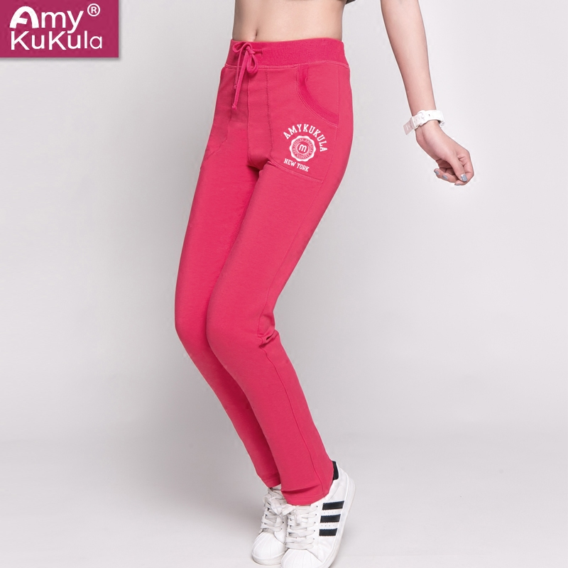 2016 korean version of the thin section sports pants female loose trousers straight wei pants casual cotton slim was thin elastic fat mm summer