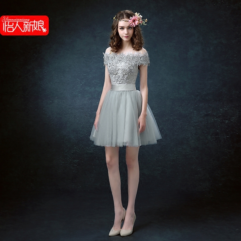 2016 new spring and autumn short paragraph the word shoulder slim toast the bride wedding dress wedding banquet evening dress banquet evening dress skirt