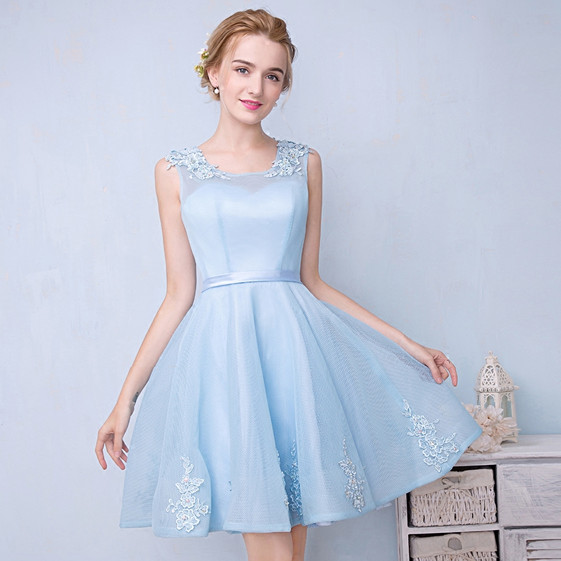 Bridesmaid dresses 2016 summer new korean version of slim round neck dress fashion evening dress short paragraph sister skirt