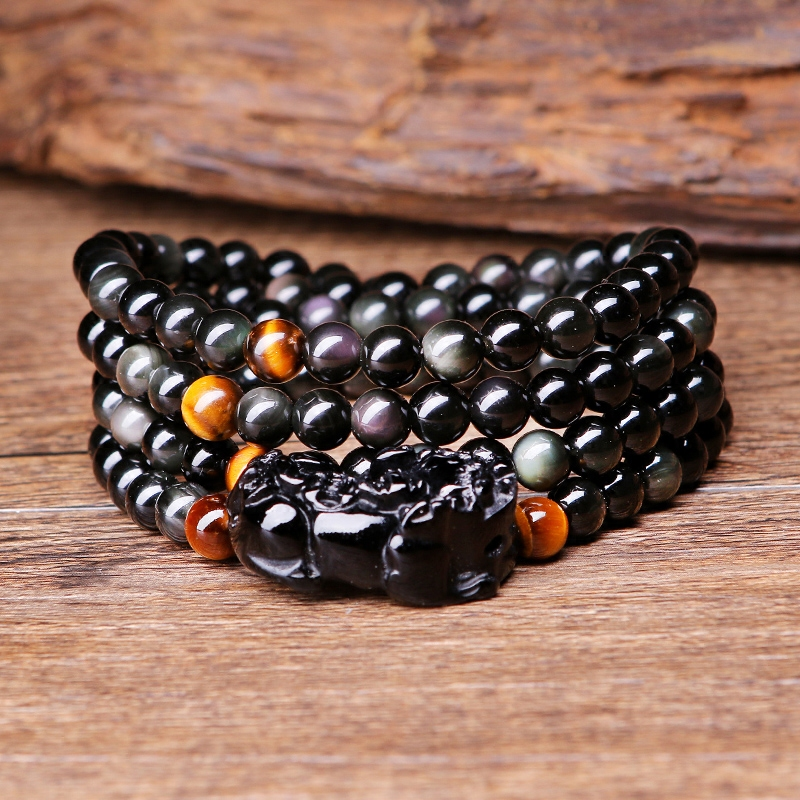 Card mouth more laps bracelet obsidian bracelet brave men and women obsidian rainbow eye bracelet with tiger eye beads