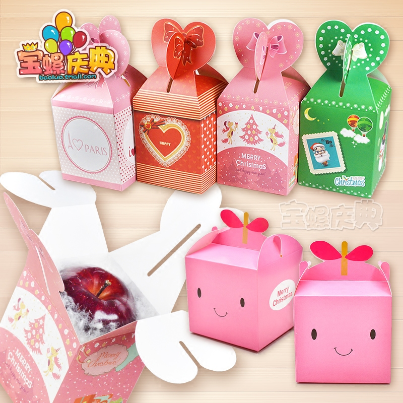 Cartoon apple box christmas gift box folding carton box christmas gift box candy box