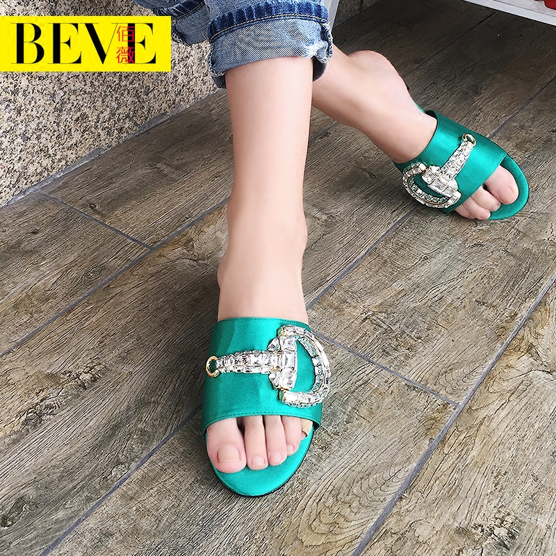 Europe station 2016 summer new female sandals and slippers in women with rhinestone slippers women slippers word slippers female summer