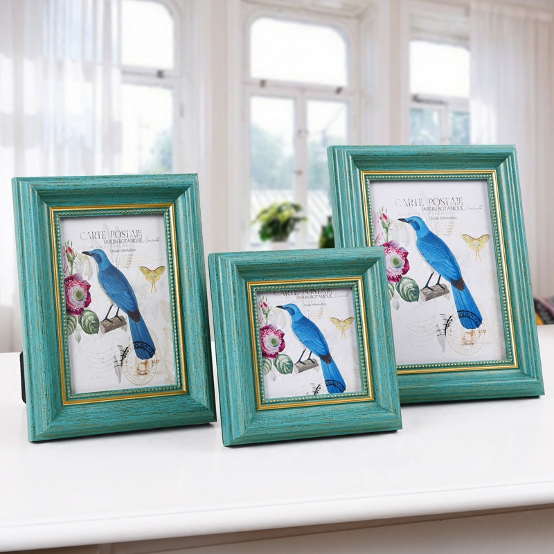 European blue retro photo frame swing sets 5 inch 6 inch 7 inch 10 inch 4 inch square wedding photo frame photo frame american Picture frame