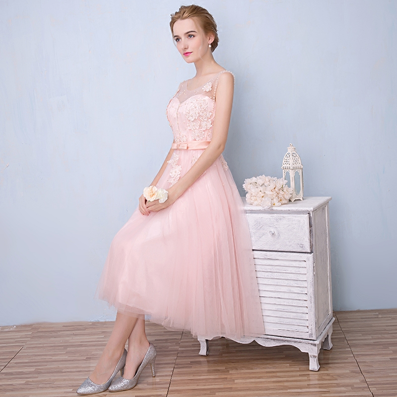 Evening dress 2016 summer new korean version of the long paragraph pink bridesmaid sister group slim evening dress beaded dress women