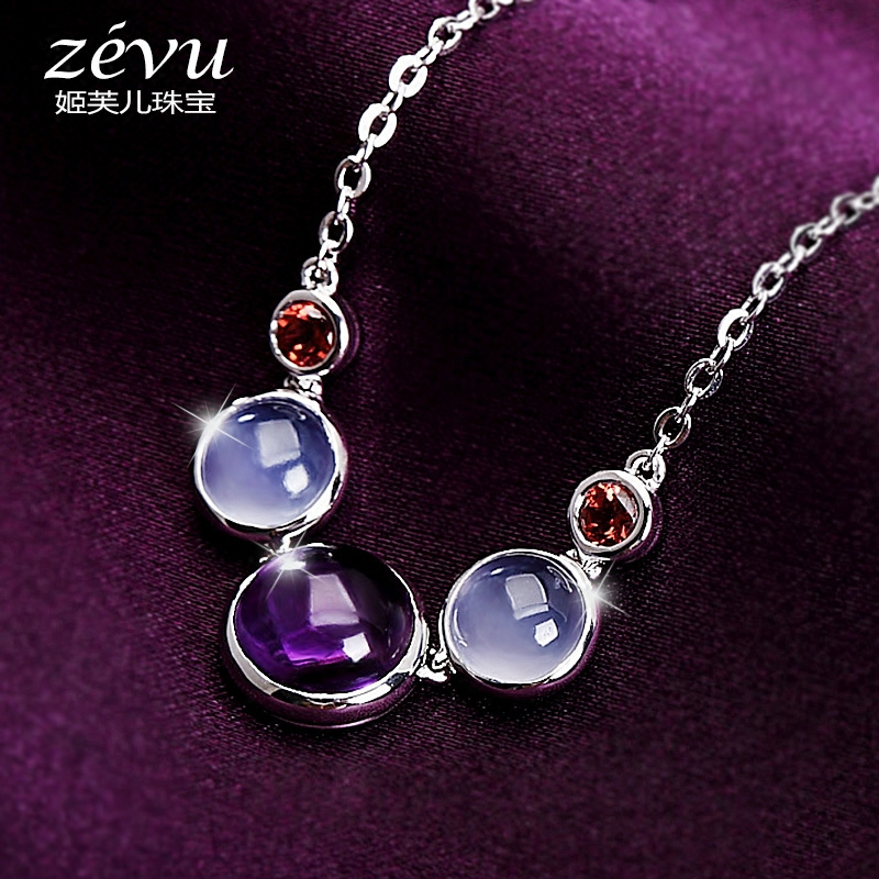 Fu ji children zevu customization natural crystal necklace female amethyst chalcedony garnet pendant 9 silver chain clavicle 25
