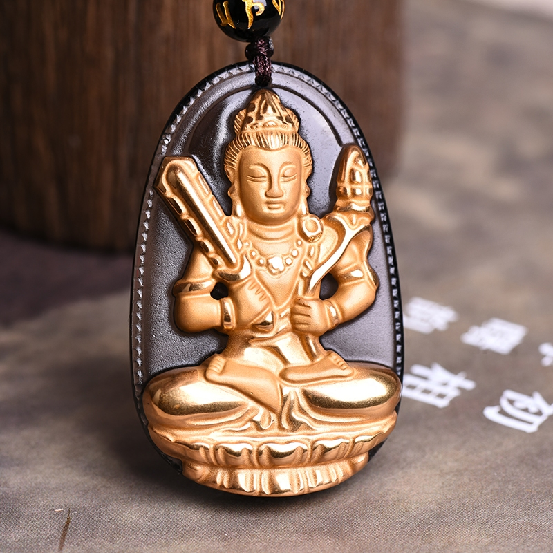 Gold inlaid ice kinds of obsidian big day tathagata buddha pendant twelve zodiac patron saint natal buddha necklace men and women