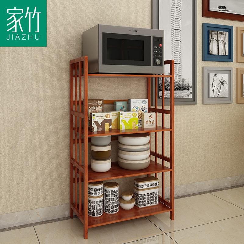 Home bamboo wood multilayer bamboo kitchen shelf microwave oven rack economical family combination of reinforcement storage compartment shelves