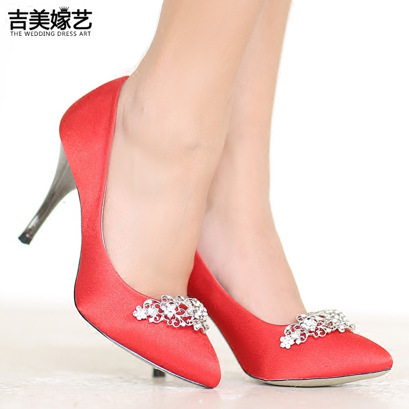 Jigme married art wedding shoes red high heels shoes new korean version of the diamond wedding shoes satin surface 20 paragraph 16 BS05