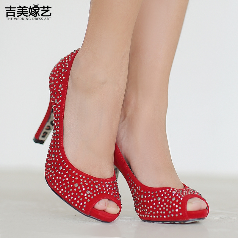 Jigme married art wedding shoes red high heels shoes new shoes 2016 new bow korean version of the diamond wedding shoes 0701