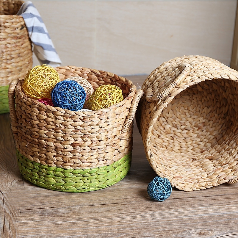 Kens american handmade straw storage box barrel pots sets bedroom clothes holding toy storage basket storage baskets